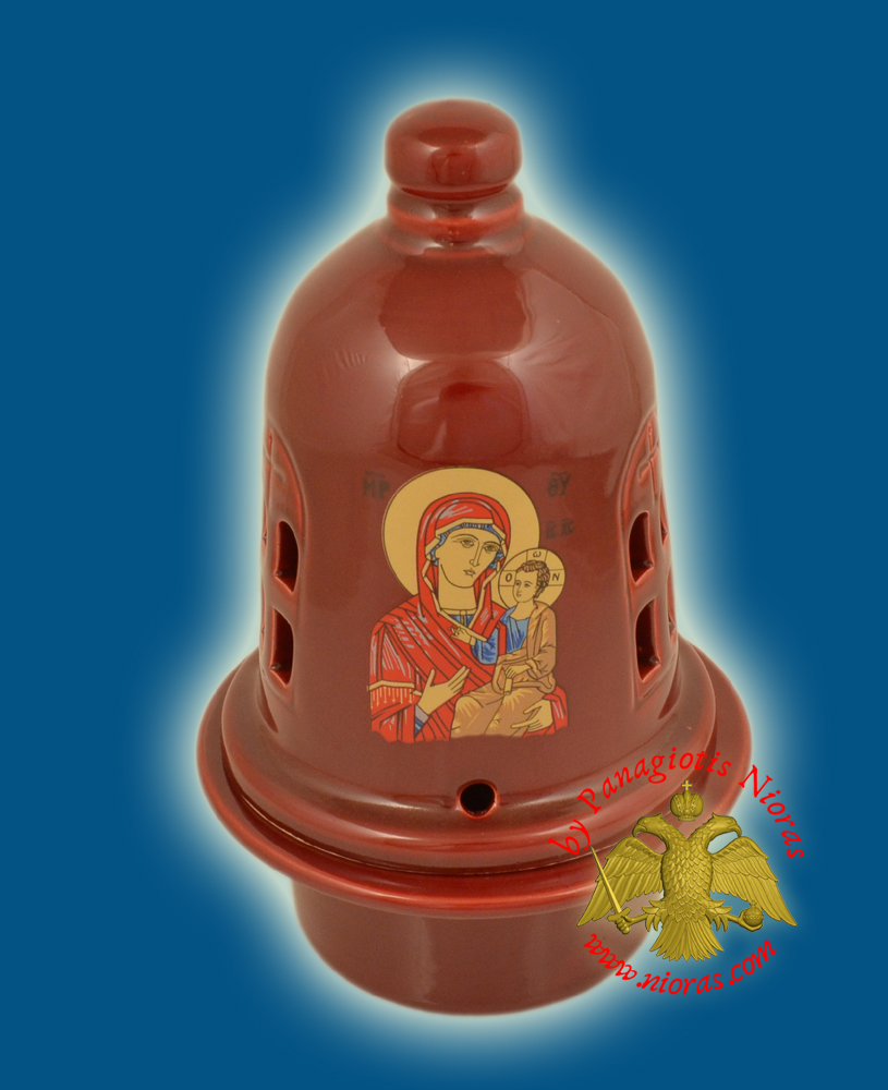 Ceramic Orthodox Traditional Theomitor Dome Oil Candle Burgundy