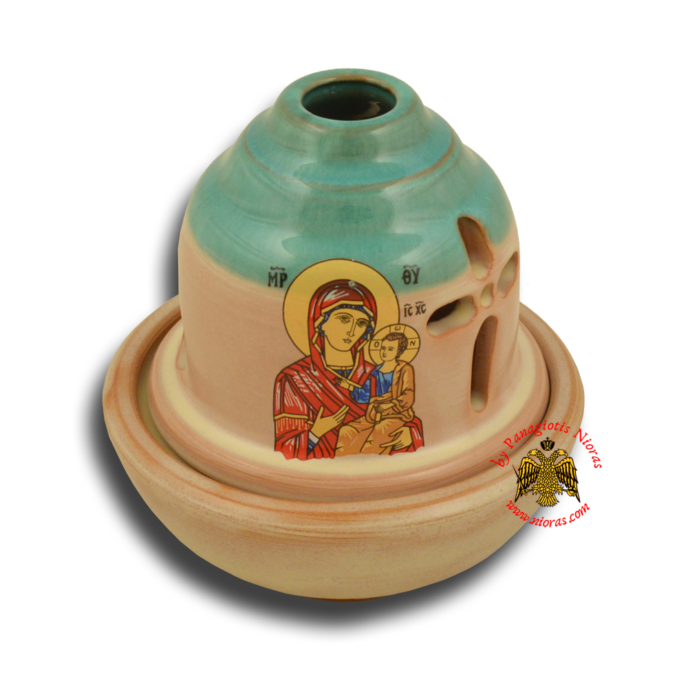Ceramic Orthodox Traditional Hut Oil Candle Turquoise