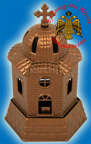Aluminum Oil Candle Church Brown 9x17cm