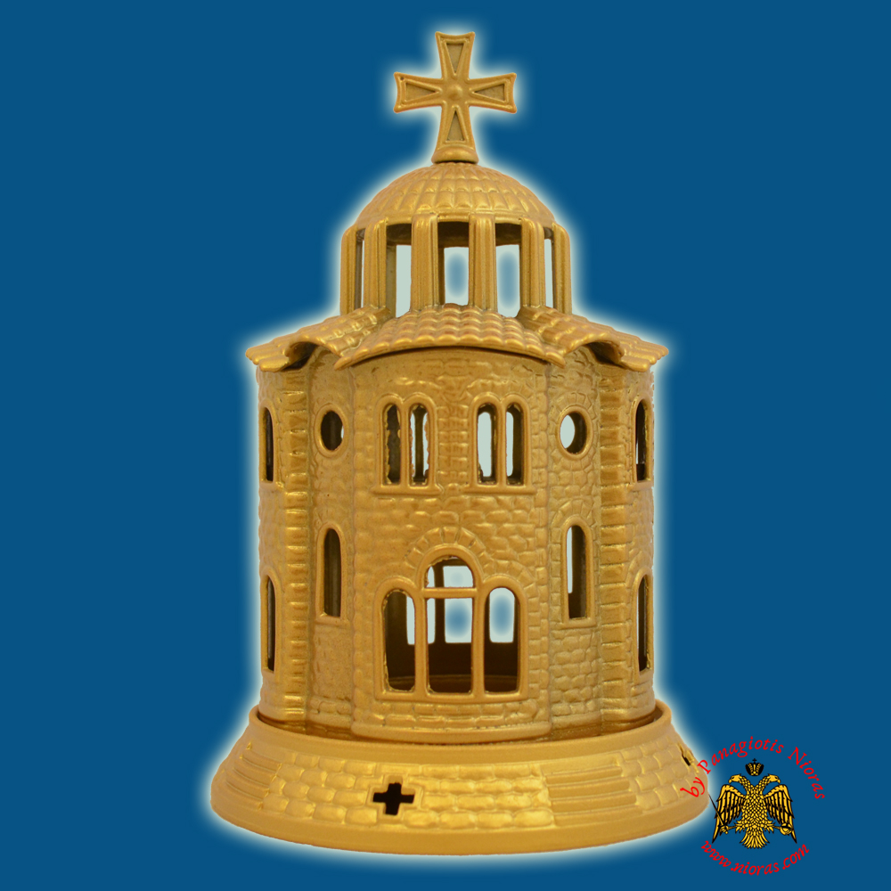 Orthodox Church Design Aluminum Oil Candle Gold 12x18cm