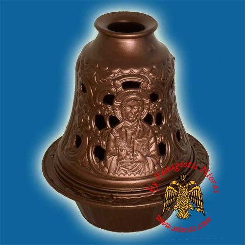Aluminum Oil Candle Bell Style Brown 14x10cm