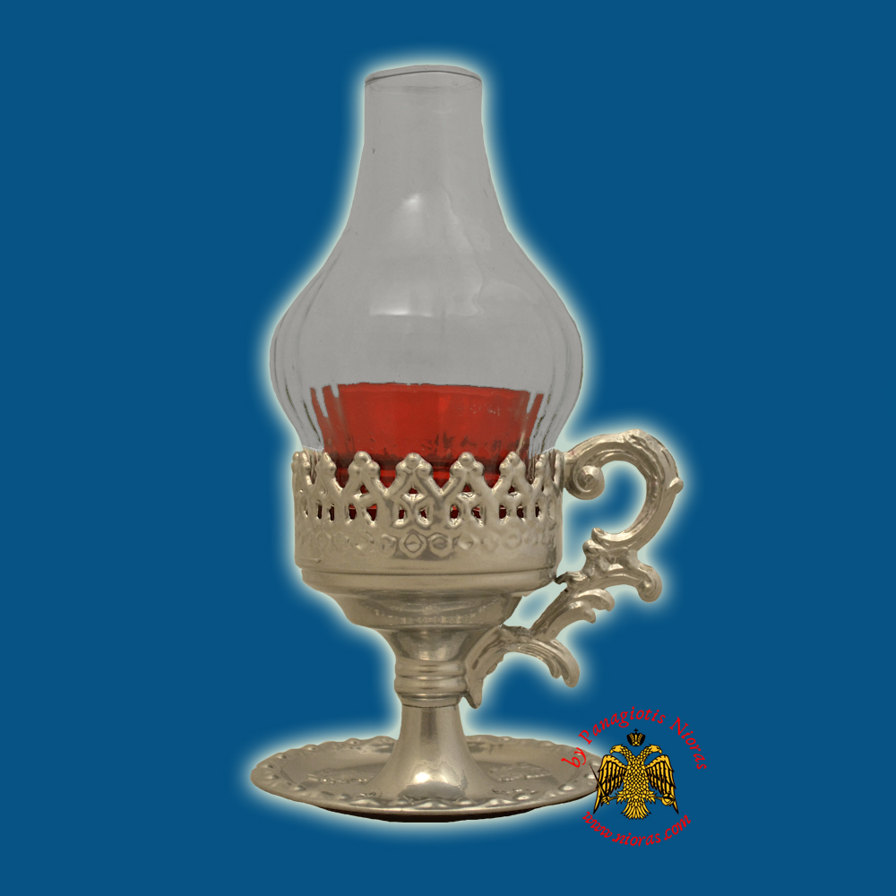 Orthodox Oil Candle with Glass Lamp Silver Plated 22x13cm
