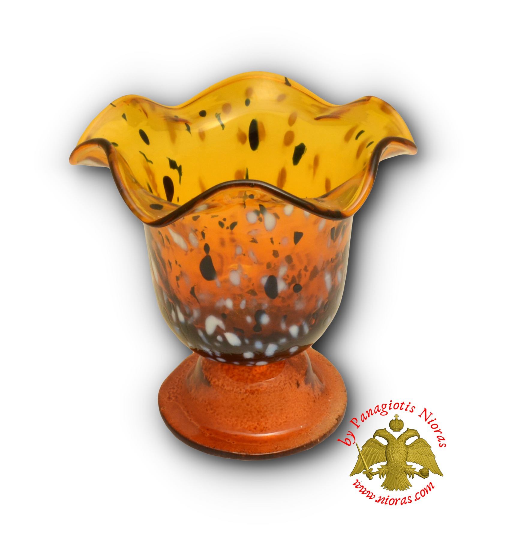 Blown Glass Vigil Oil Candle with Standing Base Amber 13x12cm