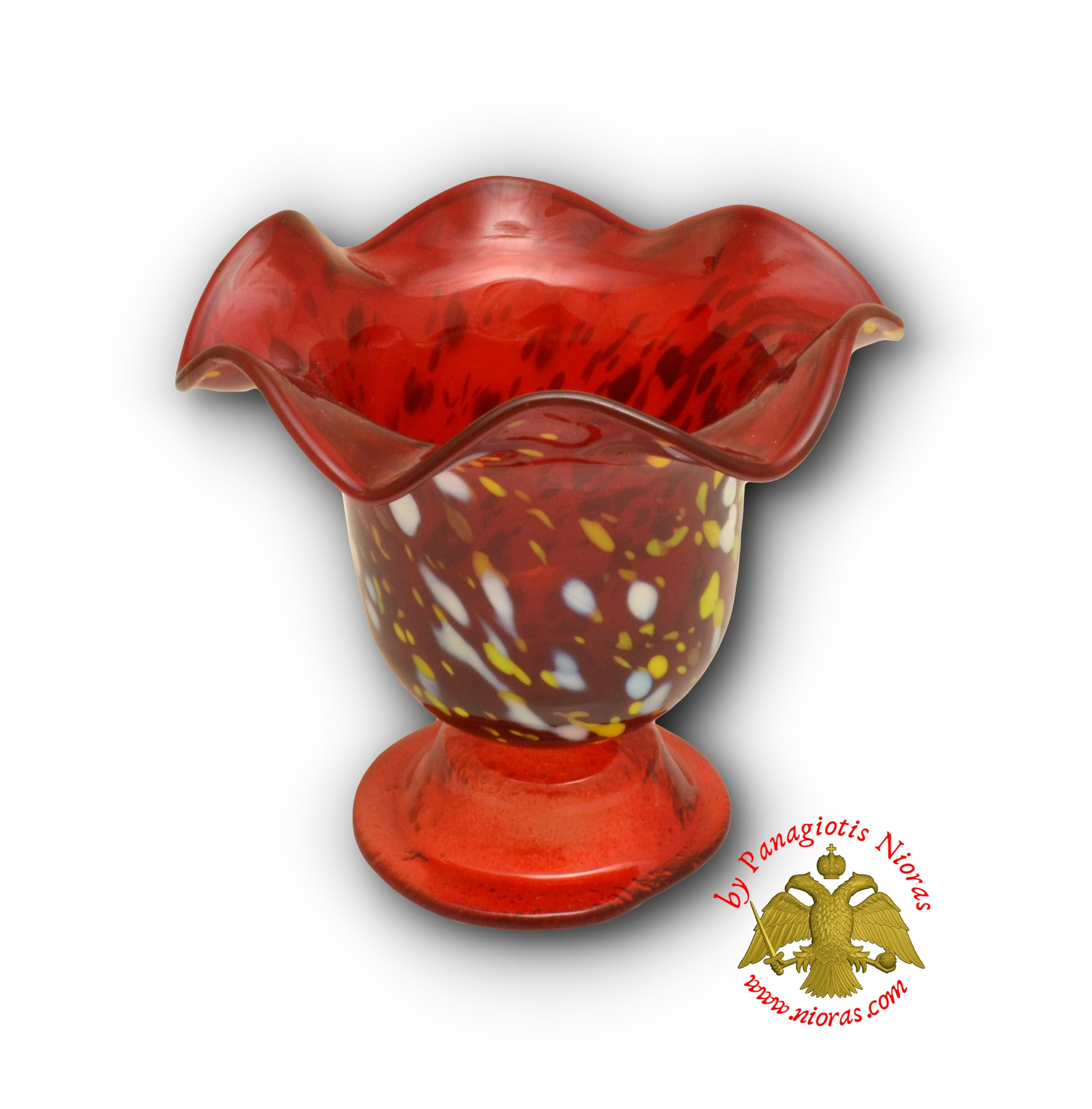 Blown Glass Vigil Oil Candle with Standing Base Red 13x12cm