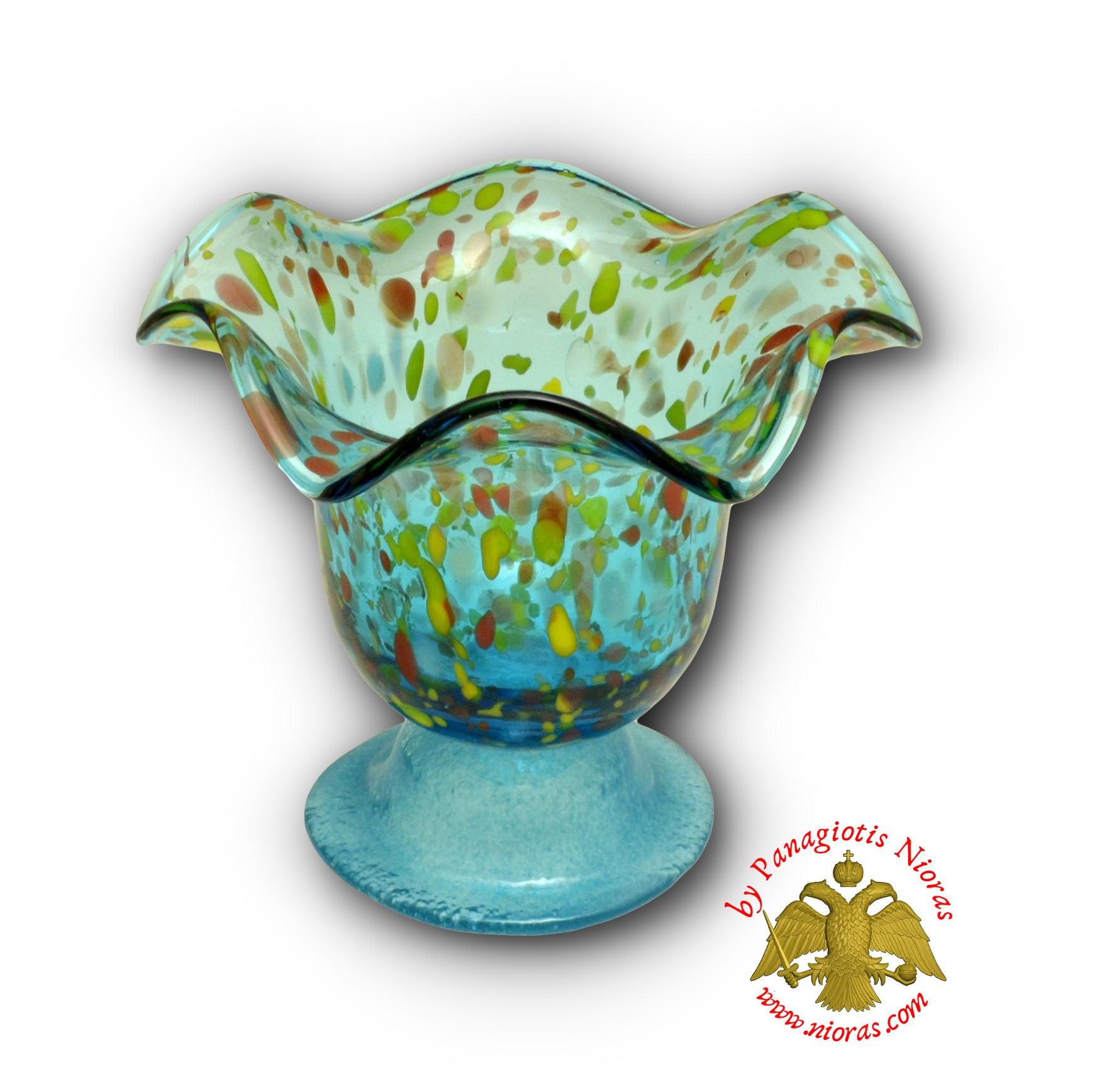 Blown Glass Vigil Oil Candle with Standing Base Turquoise 13x12cm