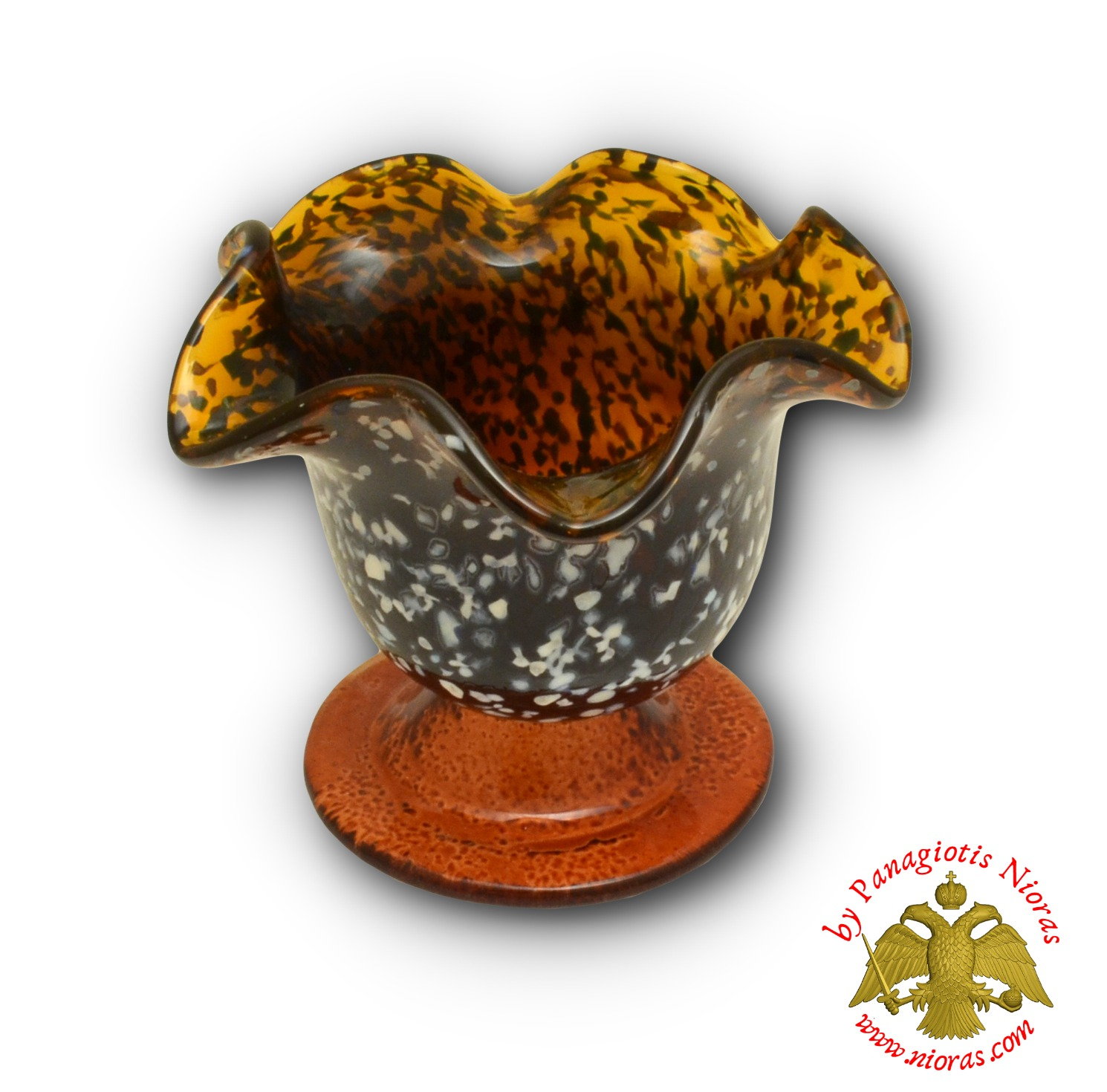 Blown Glass Vigil Oil Candle with Standing Base Amber 10x9cm