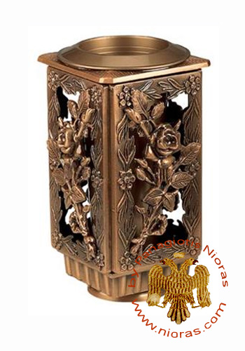 Cenotaph Metal Vase Rectangular with Rose Flower Design 27cm