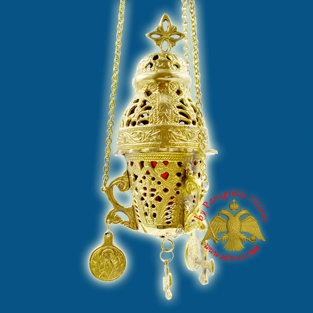 Hanging Brass Metal Vigil Oil Candle Gianiotino Style C' Gold Plated
