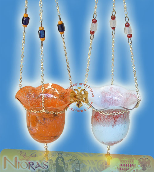 Blown Glass Hanging Oil Candle Design D:12cm H:10cm