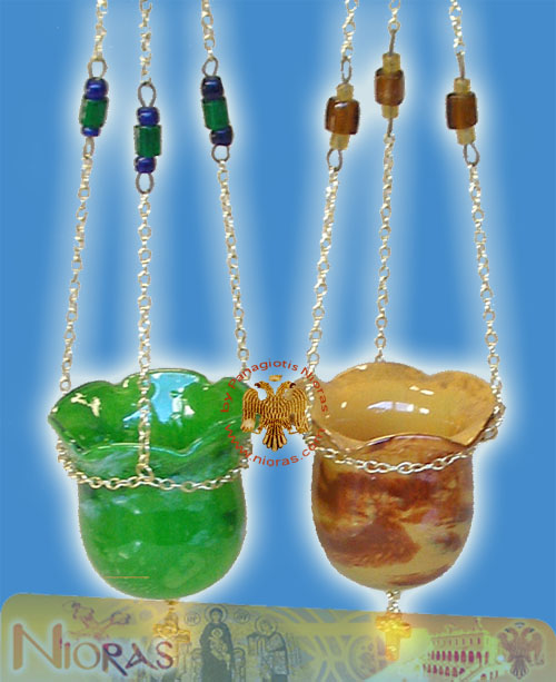 Blown Glass Hanging Oil Candle Design D:11cm H:9cm