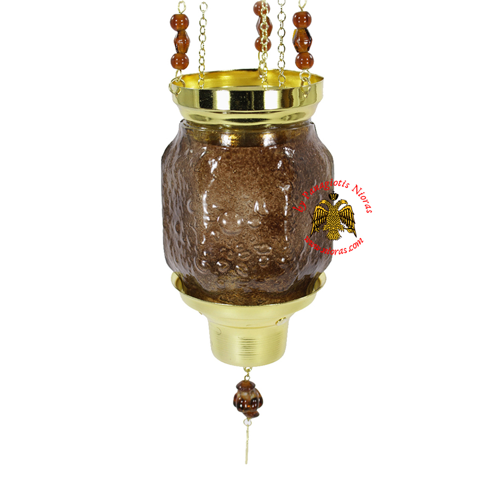 Vigil Oil Candle Hexagon Glass Fussing Brown with Sliding Down Metal Brass Mechanism for the Glass Cup