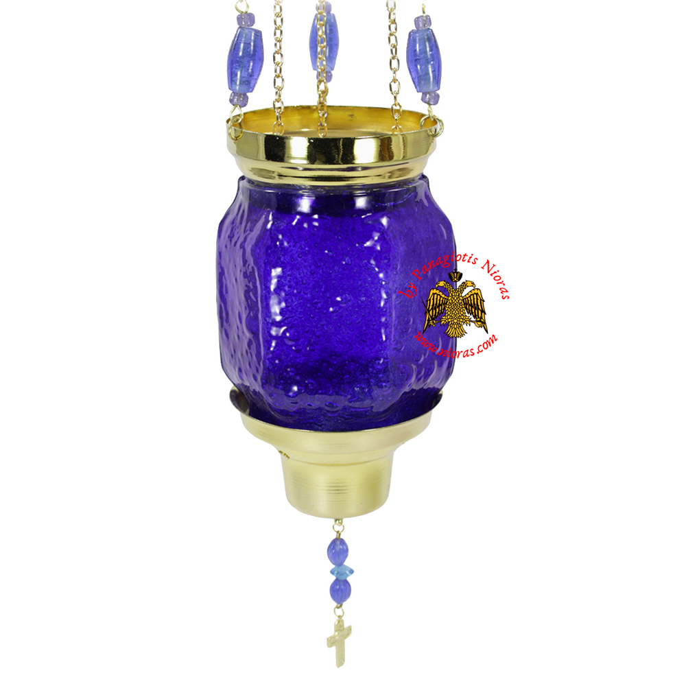 Vigil Oil Candle Hexagon Glass Fussing Blue with Sliding Down Metal Brass Mechanism for the Glass Cup