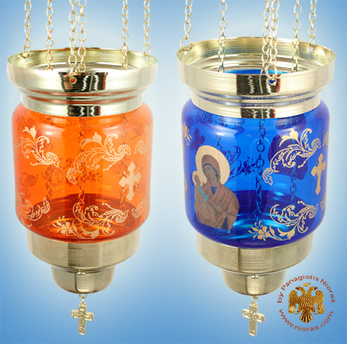 Hanging Glass Pillar Candle Colorful decals with religious themes