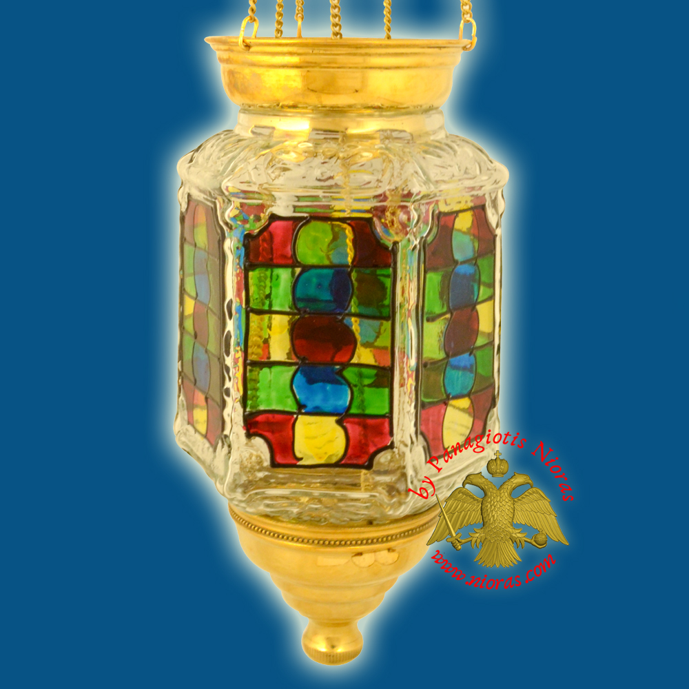 Traditional Hanging Oil Candle Hexagon Glass Hand Painted Vitro
