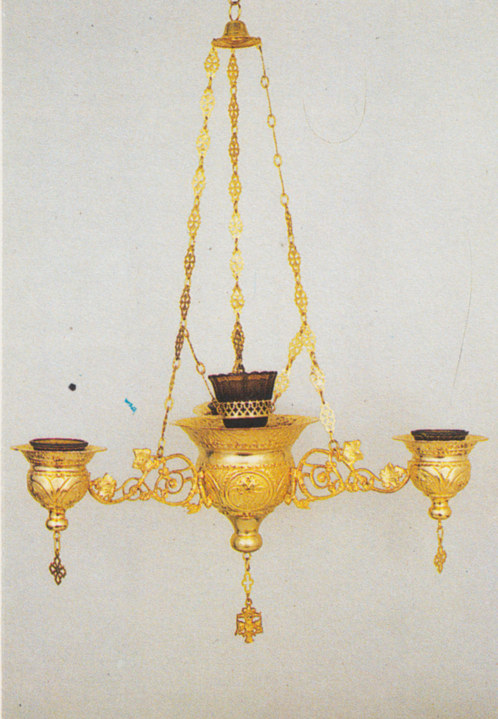 Orthodox Ecclesiastical 3-Branch Hanging Oil Candles No.3 Byzantine Center