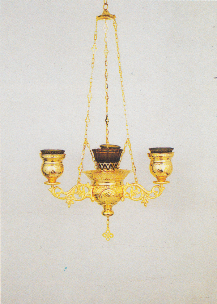 Orthodox Orthodox Ecclesiastical 3-Branch Hanging Oil Candles No.2 Byzantine Center
