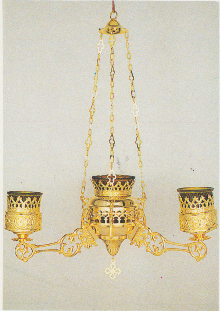 Orthodox Ecclesiastical 3-Branch Hanging Oil Candles