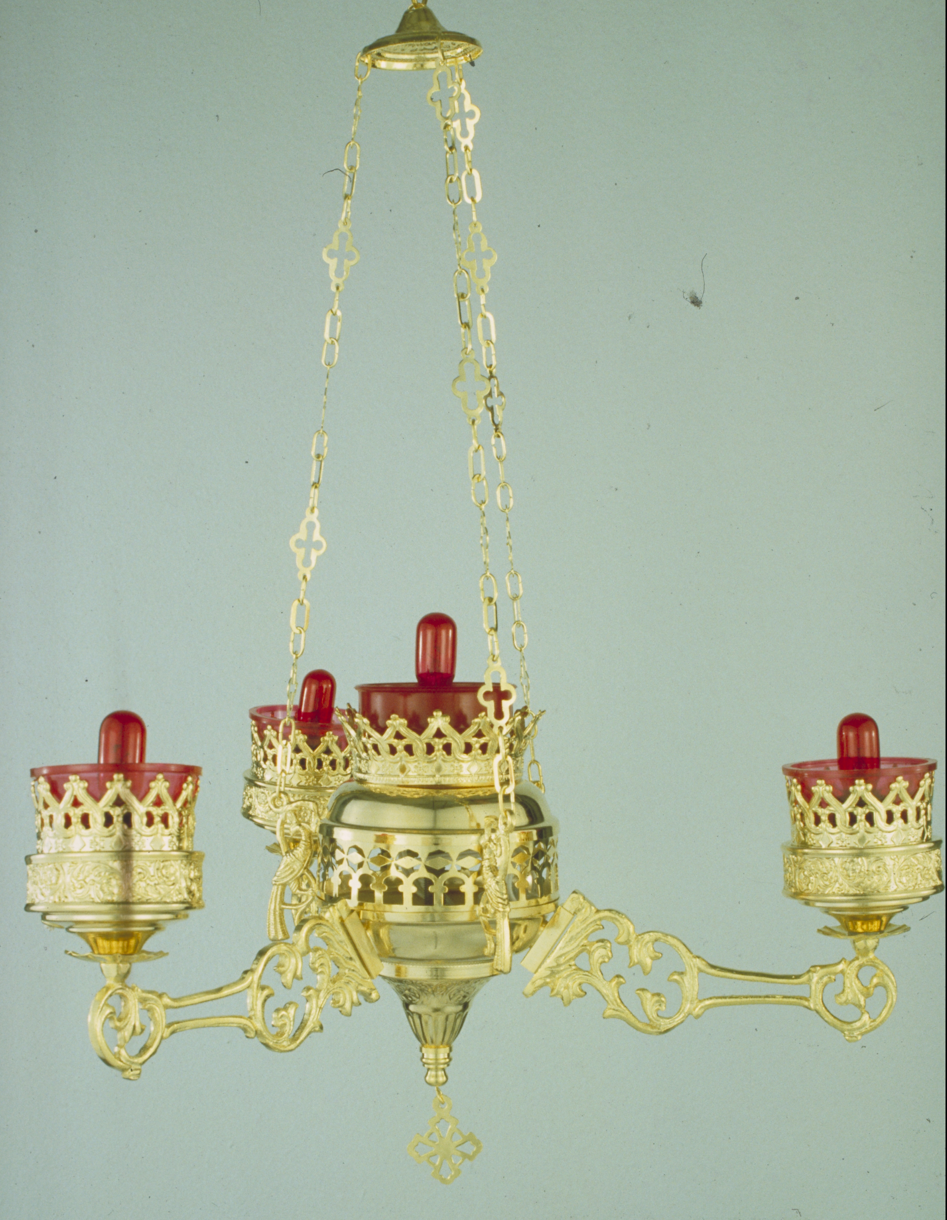 Orthodox Ecclesiastical 3-Branch Electric Hanging Oil Candles Gold Plated