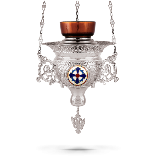 Orthodox Vigil Oil Candle Byzantine N4 Silver plated with Cross Enamel Details