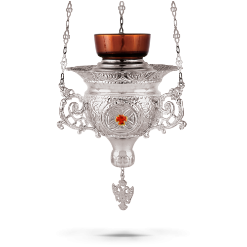 Orthodox Vigil Oil Candle Byzantine N4 Silver plated with Stones
