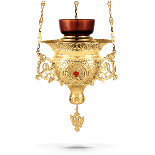 Orthodox Vigil Oil Candle Byzantine N4 Gold plated with Stones