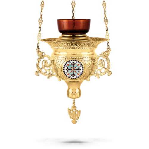 Orthodox Vigil Oil Candle Byzantine N4 Gold plated with Cross Enamel Details
