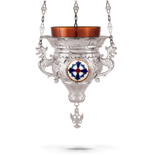 Orthodox Vigil Oil Candle Byzantine N1 Silver Plated With Cross Enamel Detail