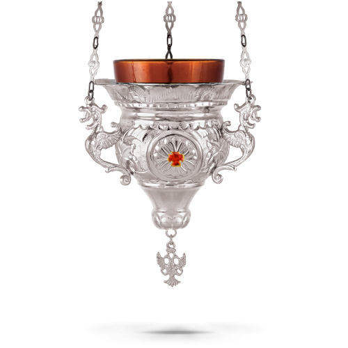 Orthodox Vigil Oil Candle Byzantine N3 Silver Plated with Stones