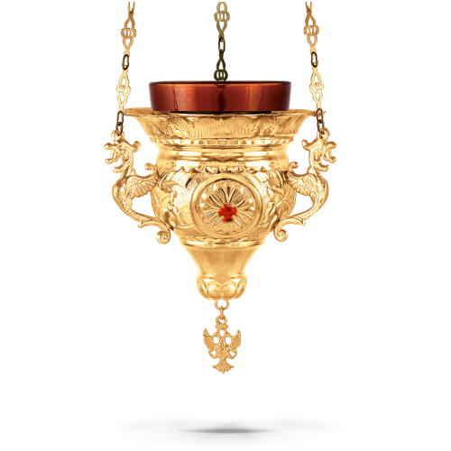 Orthodox Vigil Oil Candle Byzantine N3 Gold plated with Stones