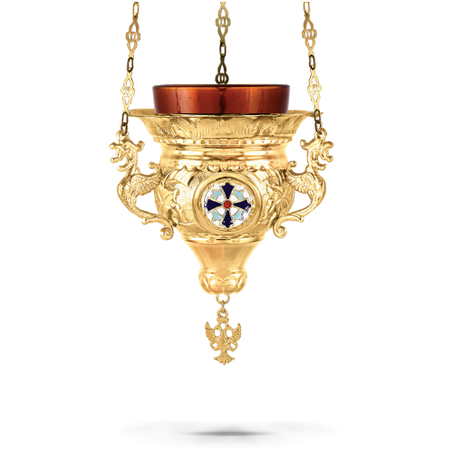 Orthodox Vigil Oil Candle Byzantine N2 Gold plated With Enamel Cross Details