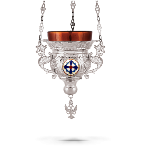 Orthodox Vigil Oil Candle Byzantine N2 Silver Plated With Enamel Cross Details