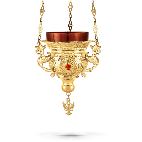 Orthodox Vigil Oil Candle Byzantine N2 Gold Plated with Stones