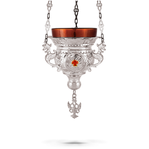 Orthodox Vigil Oil Candle Byzantine N1 Silver Plated With Stones