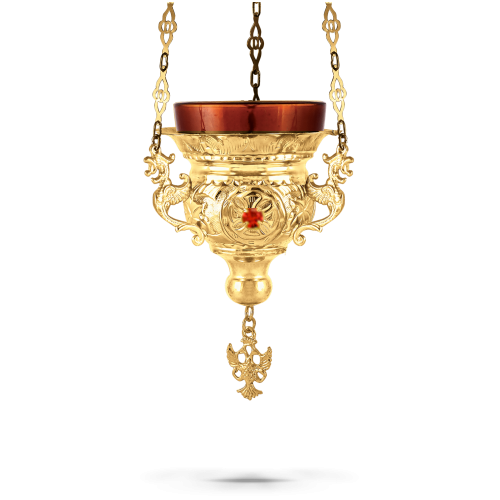 Orthodox Vigil Oil Candle Byzantine N1 Gold Plated With Stones