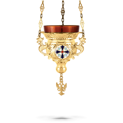 Orthodox Vigil Oil Candle Byzantine N1 Gold plated with Enamel Cross Detail