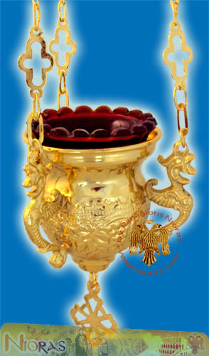 Orthodox Vigil Oil Candle Byzantine No.0 Gold Plated