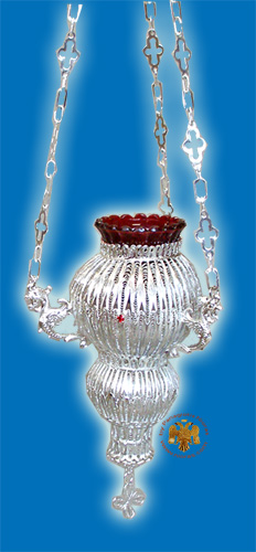 Orthodox Hanging Oil Candle Kerkiraiko Hand Made Filigree Silver Plated