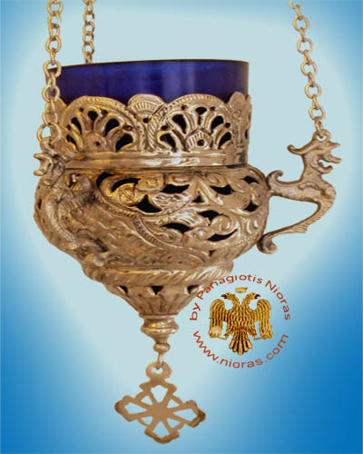 Orthodox Hanging Oil Candle Handmade Design B Brass