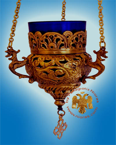 Orthodox Hanging Oil Candle Handmade Design B Antique