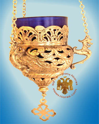 Orthodox Hanging Oil Candle Handmade Design B Gold Plated