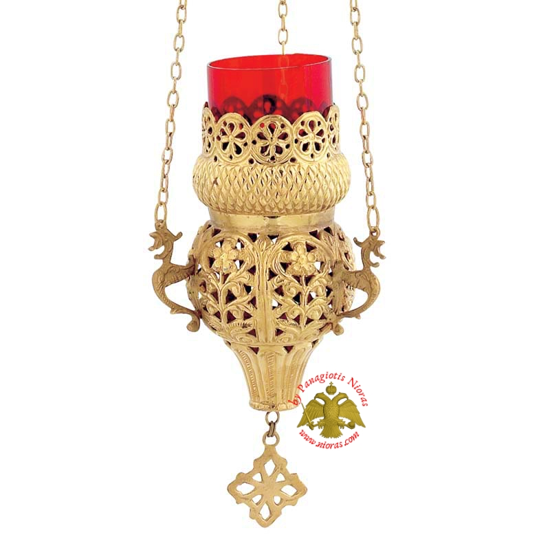 Orthodox Hanging Oil Candle Handmade Design A Brass