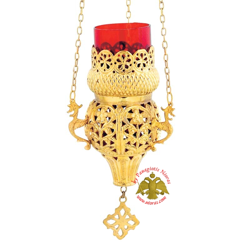 Orthodox Hanging Oil Candle Handmade Design A Gold Plated
