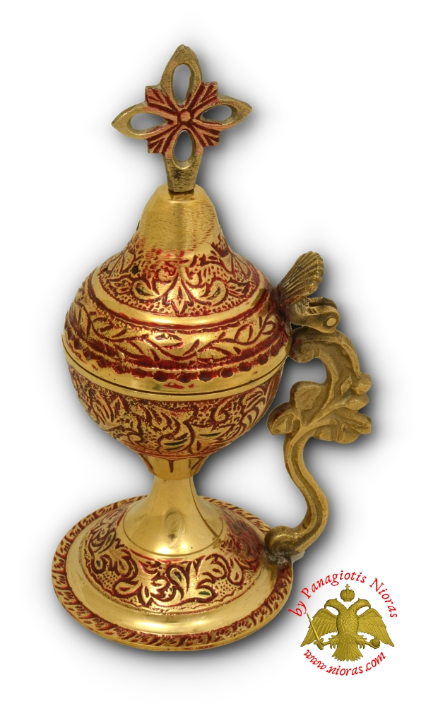 Orthodox Brass Incense Burner 18cm Red Color