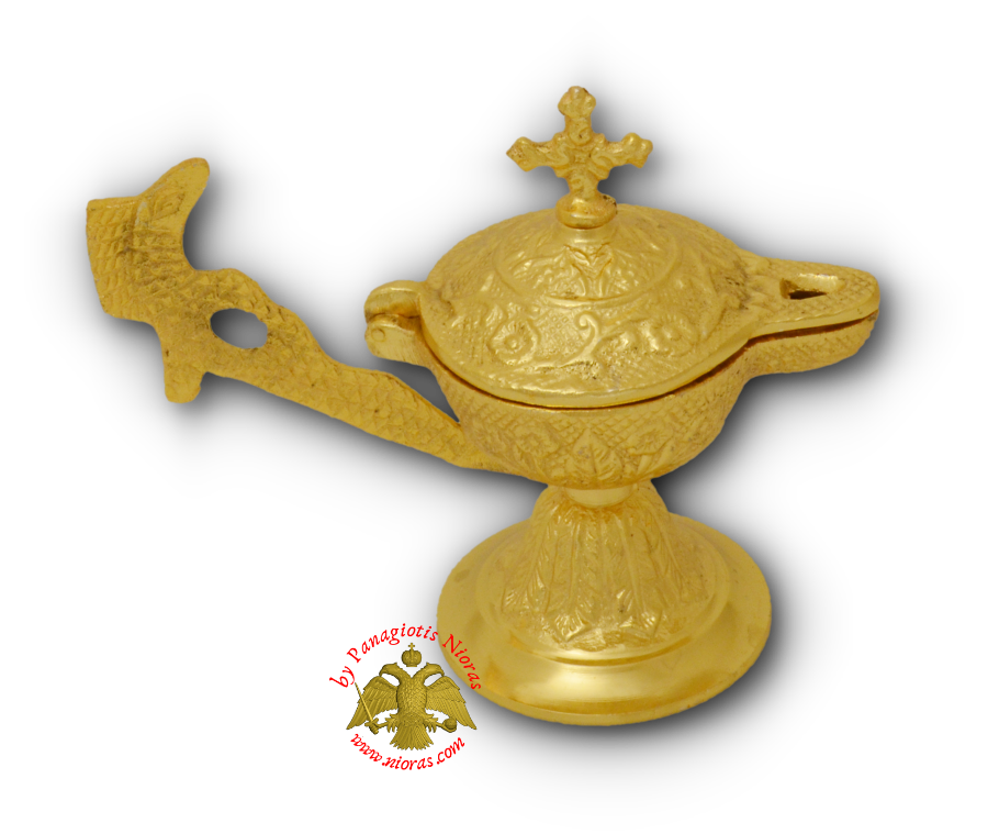 Orthodox Gianiotiko Lamp Style Incense Burner Gold Plated