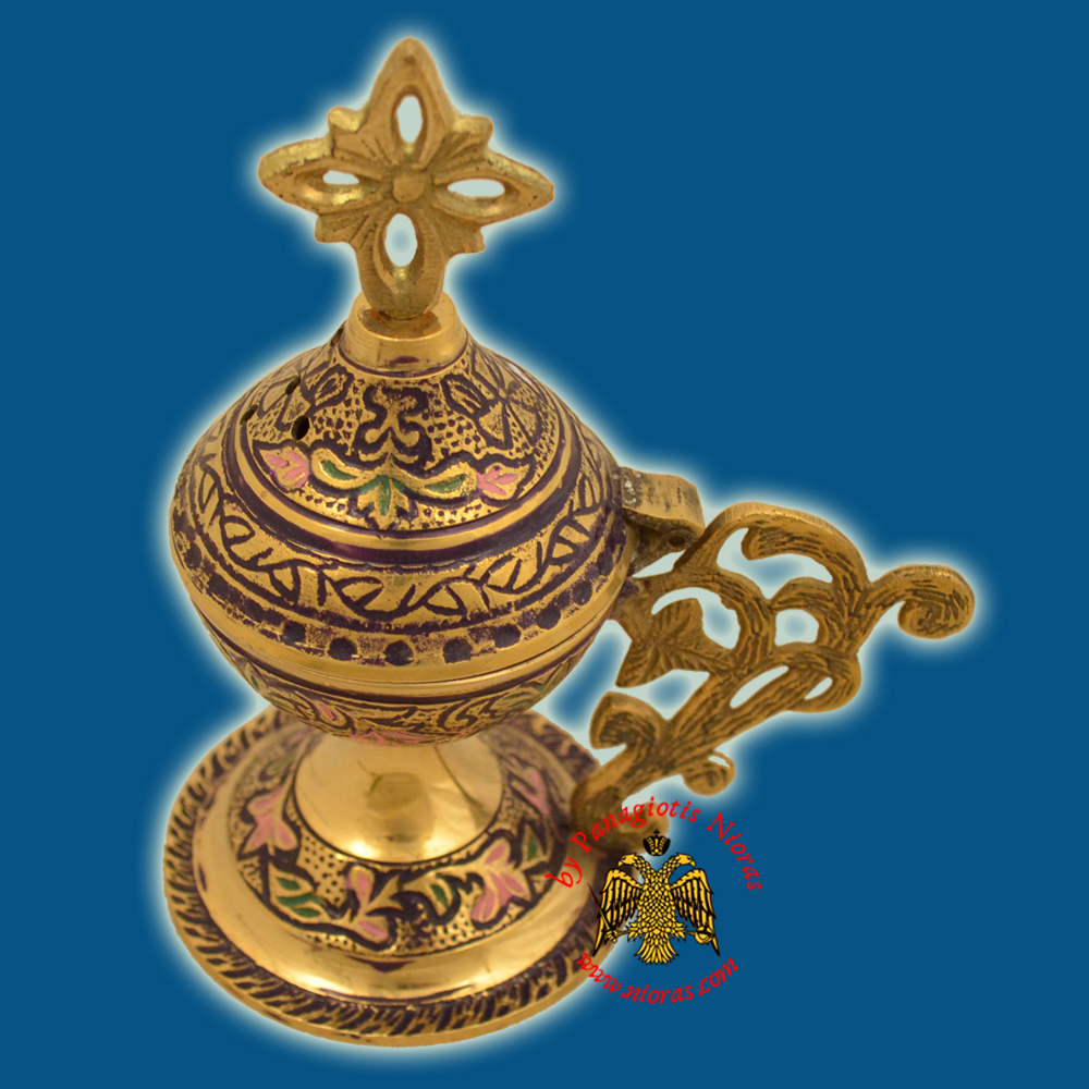 Orthodox Metal Brass Incense Burner 13cm Blue Colour