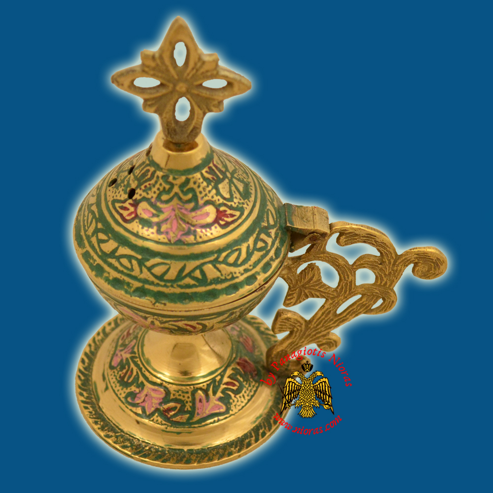 Orthodox Metal Brass Incense Burner 13cm Green Colour