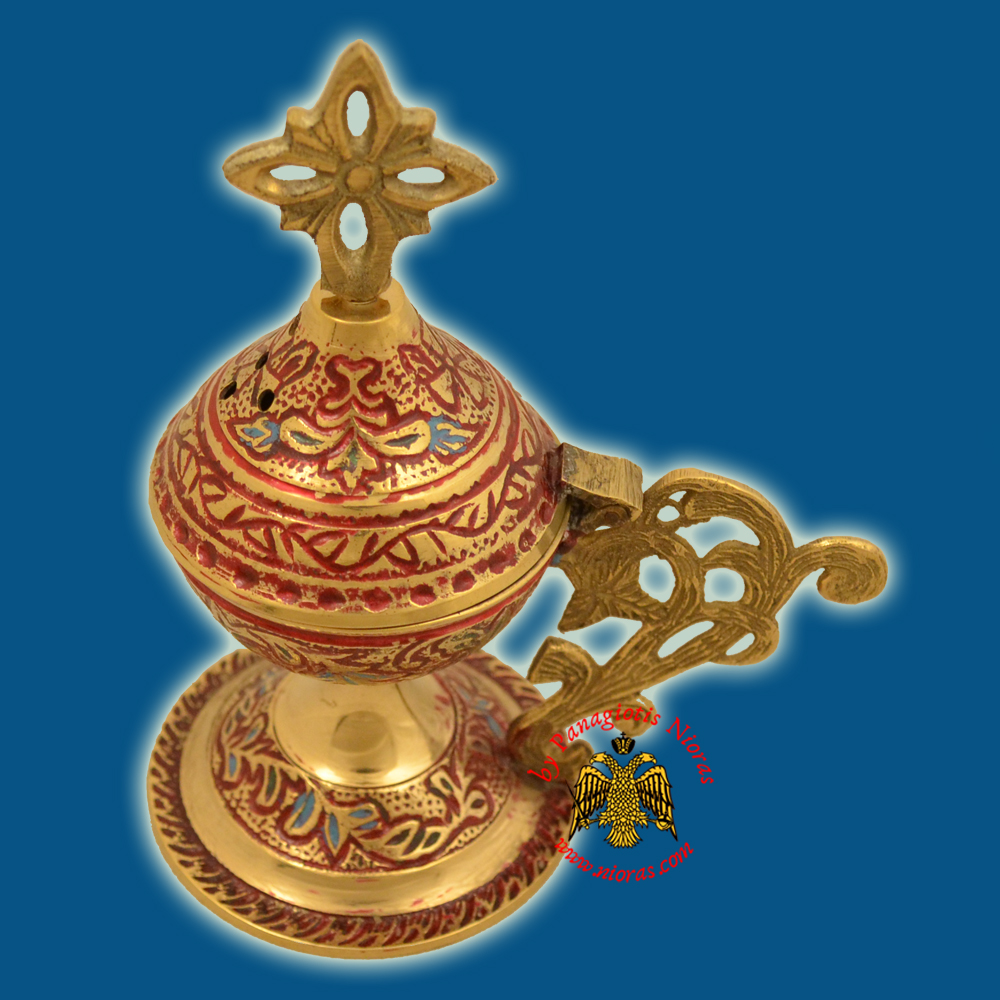 Metal Brass Incense Burner 13cm Red Colour