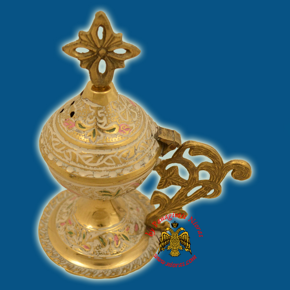 Metal Brass Incense Burner 13cm White Colour