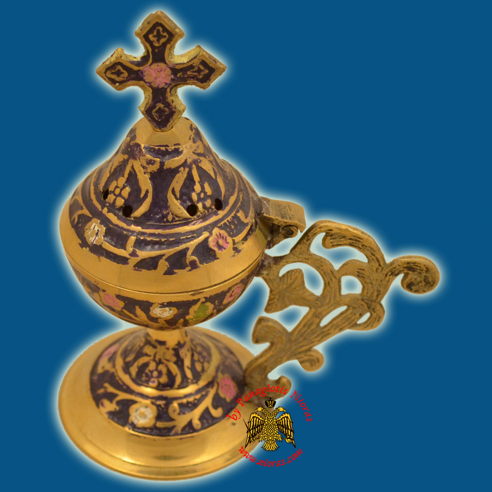 Metal Brass Incense Burner 13cm Conical Lid With Orthodox Cross Blue Colour