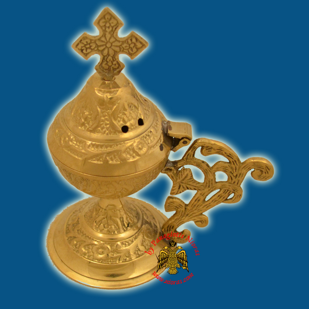 Metal Brass Incense Burner 13cm Conical Lid With Orthodox Cross Brass Polished
